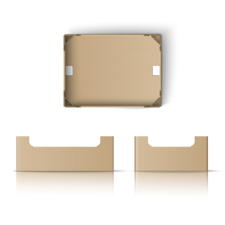 cardboard packaging: Realistic box template. Box for fruit and vegetables