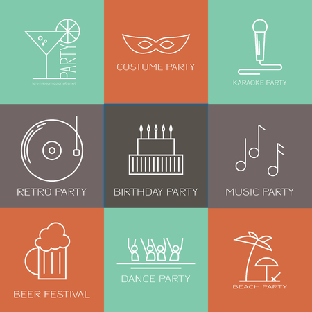 beach party: Modern icon set of different kinds of parties. Costume party, karaoke party, retro party, birthday party, music party, dance party, beach party, beer festival