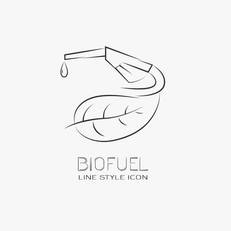 bio diesel: Eco fuel sign. Line drawing design