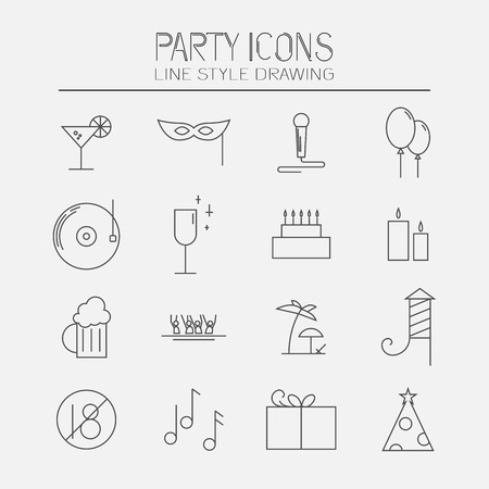 Modern set of party icons. Line style drawing
