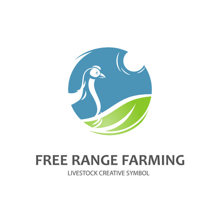 free range: Seafood creative symbol. Vector template
