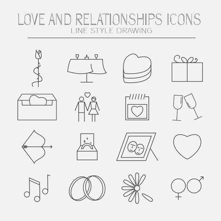 women s day: Modern set of love and relationship icons. Line style drawing