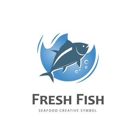 Świeże ryby wektora projektowania logo szablonu. Restauracja serwująca owoce morza pomysł.