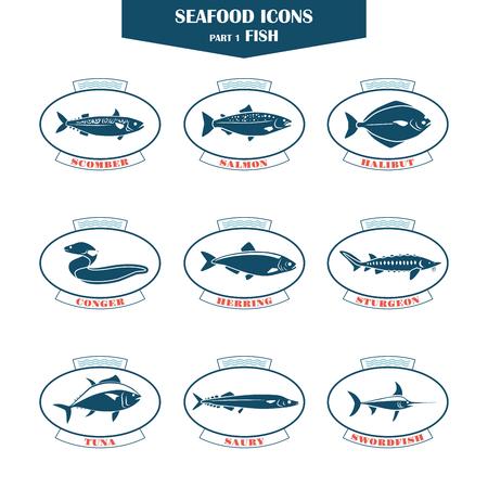 icônes de fruits de mer. icônes poisson. Peut être utilisé pour les restaurants, la conception de menu, la conception de pages Internet, dans l'industrie de la pêche, commercial Vecteurs