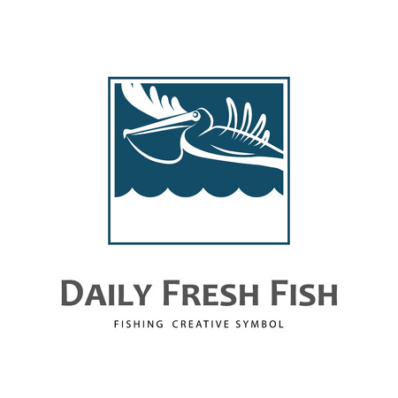 fisher: Logo template with fish delivering pelican. Fishing industry idea.