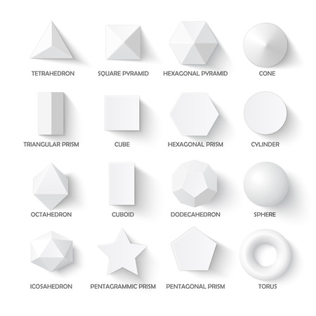 cuboid: All basic 3d shapes template. Realistic with shadow. Perfect for school, study, designers