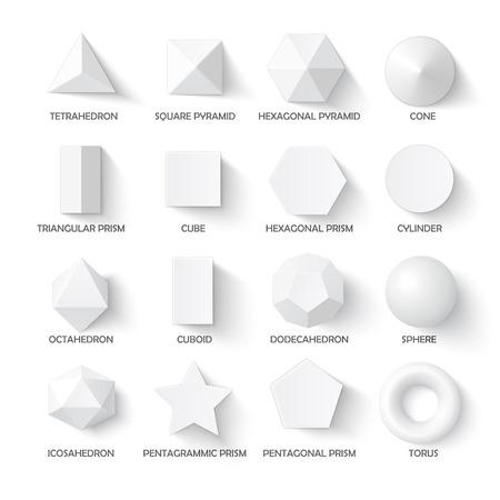 Alle basis 3D-vormen template. Realistische met schaduw. Perfect voor school, studie, ontwerpers
