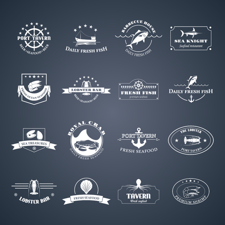 Perfect set of seafood badges, labels and design elements. Can be used for restaurants, menu design, internet pages design, in the fishing industry, commercial