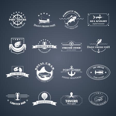 mariscos: perfecto conjunto de insignias de mariscos, etiquetas y elementos de diseño. Puede ser utilizado para restaurantes, diseño de menú, páginas de Internet de diseño, en la industria pesquera, comercial