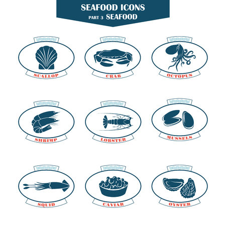 prepared dish: Seafood icons. Can be used for restaurants, menu design, internet pages design, in the fishing industry, commercial Illustration