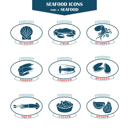 Seafood pictogrammen. Kan gebruikt worden voor restaurants, menu design, internet pagina's te ontwerpen, in de visserij-industrie, handel
