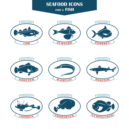 Seafood icons. Fish icons. Can be used for restaurants, menu design, internet pages design, in the fishing industry, commercial Ilustração