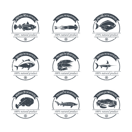 Perfect set of seafood. Seafood badges, labels and design elements. Can be used for restaurants, menu design, internet pages design, in the fishing industry, commercial