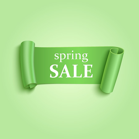 spring roll: Green realistic detailed curved paper sale banner. Spring sale ribbon. Vector illustration
