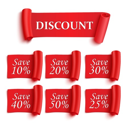 Set of realistic detailed red paper stickers or banners.Discount save. Vector illustration Ilustração