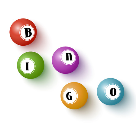 Realistic colorful bingo balls isolated over white. illustration for your design.