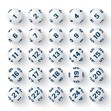 Set of realistic white bingo balls. illustrations