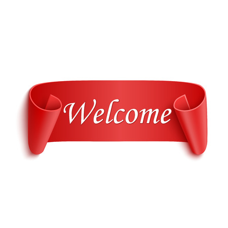 locution: Welcome red realistic sticker isolated on white Illustration