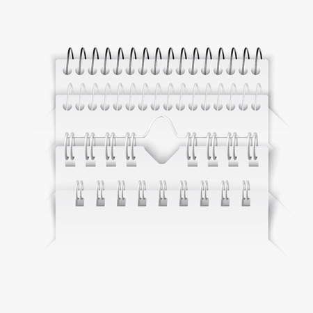 spiral notebook: set of various realistic notebook or calender spiral designs Illustration