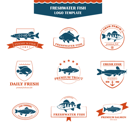 white salmon river: Perfect set of fish . Freshwater fish badges, labels and design elements. Can be used for restaurants, menu design, internet pages design, in the fishing industry, commercial