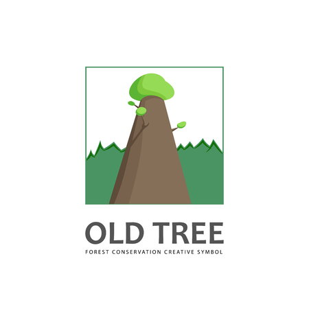 forest conservation: Old tree template. Forest conservation creative symbol