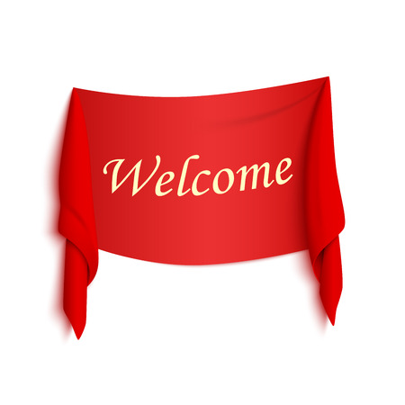 cordial: Welcome red realistic sticker isolated on white Illustration