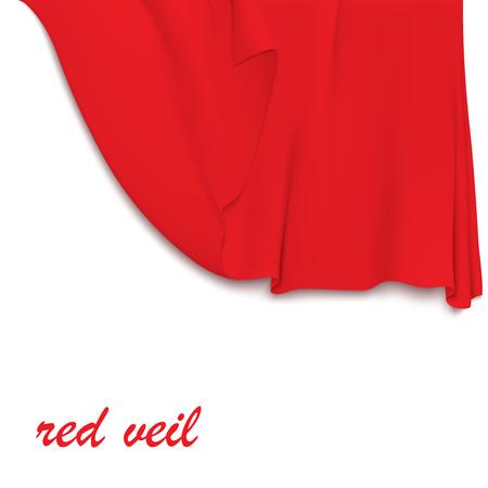 veil: Half-open red veil. Hanging red cloth. Vector illustration Illustration