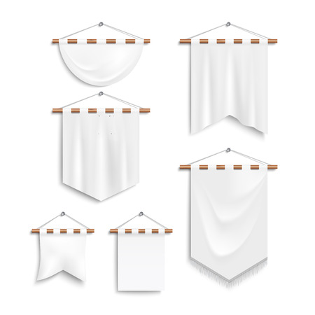 shaft: Set of realistic white textile banners with folds end shaft. Banners templates