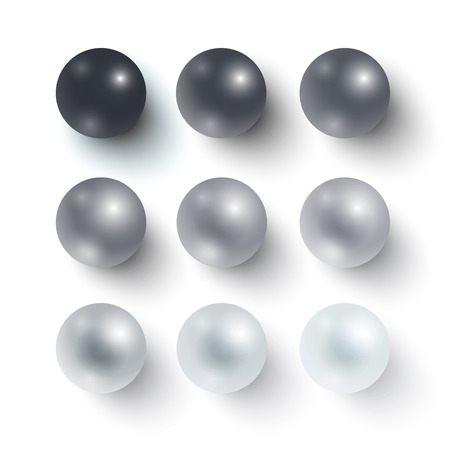 Set of realistic greyscale spheres. Gradation from black to white Vector illustration for your design.  イラスト・ベクター素材
