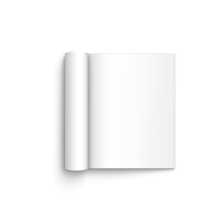 open magazine: Blank open magazine template on white background with soft shadows. Vector illustration.