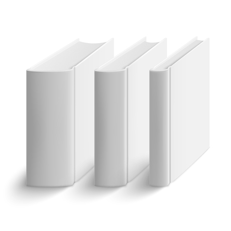 hard cover: Set of blank vertical books cover template. Hard cover. Thin, medium and thick books. Perspective view. Vector illustration.