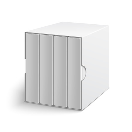 White gray cardboard box cover with group of blank books on isolated white background. Mock-up template ready for design
