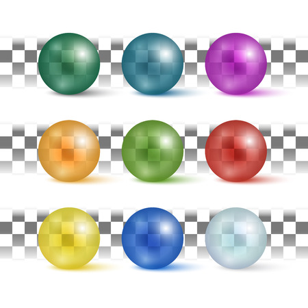 Beautiful set of realistic colorful transparent spheres. Vector illustration for your design. Ilustração