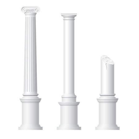 Realistic antique columns isolated on white background vector illustration Ilustração