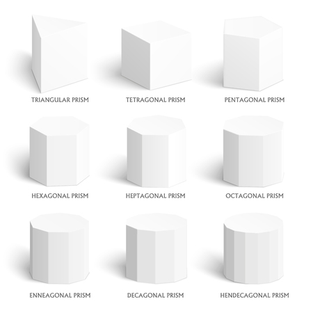 cuboid: 3d prism template. Realistic with shadow. Perfect for school, study, designers