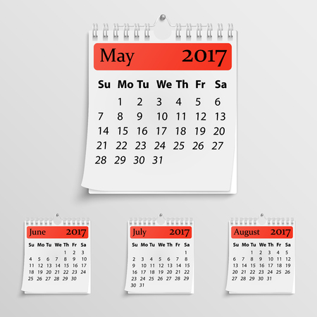 Realistic wall calendar with spring for 2017
