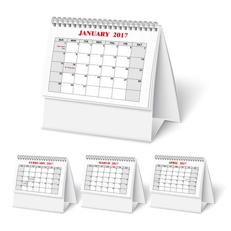 Realistic desktop calendar with spring for 2017. Ilustração