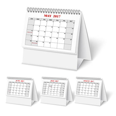 Realistic desktop calendar with spring for 2017.