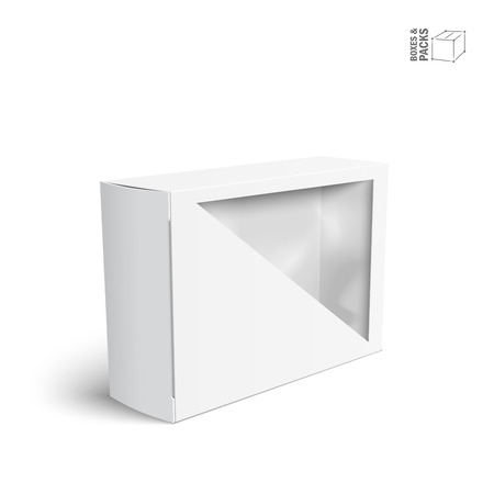 White vector product package box with window Ilustração