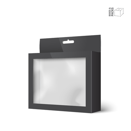 Black product package box with window. Ilustração