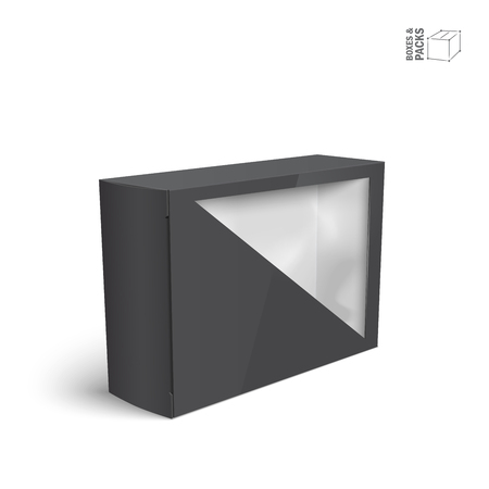 Black product package box with window Stock Illustratie