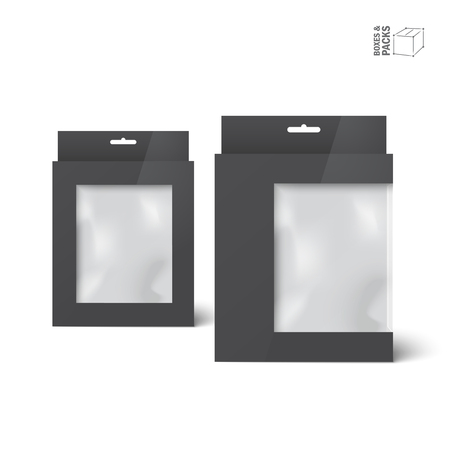 Two black vector product package boxes with window.
