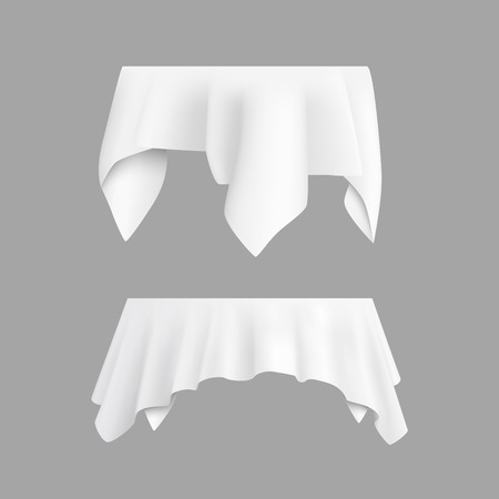 Two white round with table tablecloth. Vector illustration