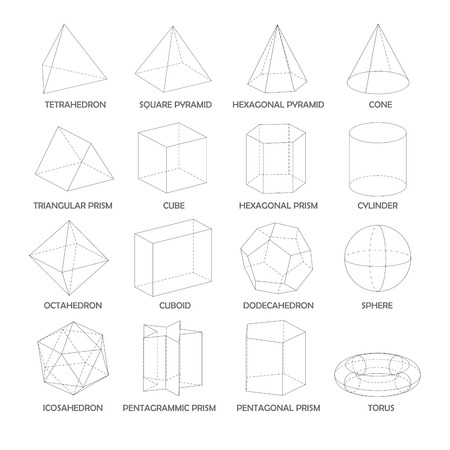 All basic 3d shapes template. Realistic with shadow Illustration