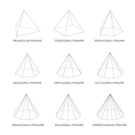 3d pyramids template. Realistic with shadow Ilustração