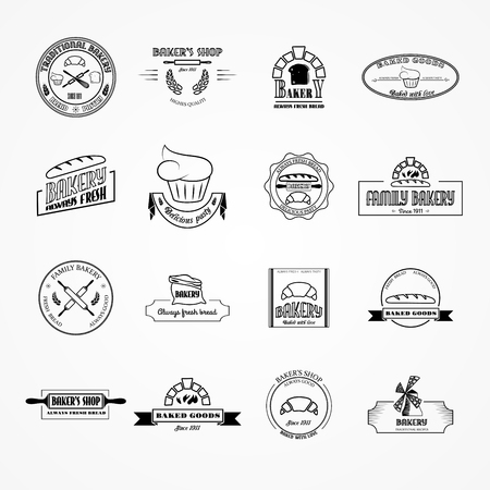 Set of vector bakery logos