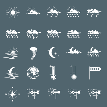Set with different weather icons cloud, sun, moon, rain snow drops
