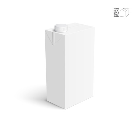 Juice and milk blank white carton box. Isolated object vector illustration.