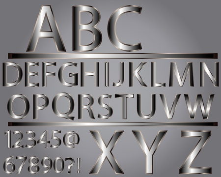 Metallic style alphabet Vector