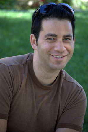 Brown t-shirt portrait